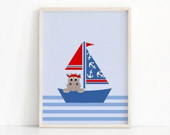 Sailboat Baby Art, Nautical Nursery Print, Boy Nursery Wall Art Print, Sailboat Nursery Art, Nautical Nursery Decor, Hippo Art