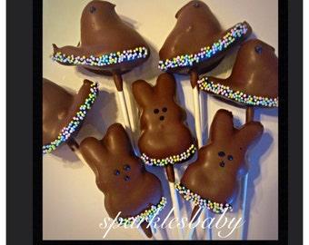 Peeps lollipops - gourmet chocolate covered peeps
