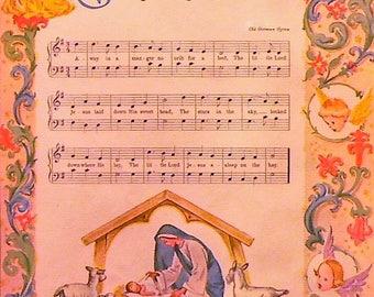 1947 Away In a Manger Music Christmas Carol Matted Vintage Print