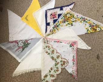 Collection of 10 vintage hankies / handkerchiefs in assorted colors, styles, and sizes. #926