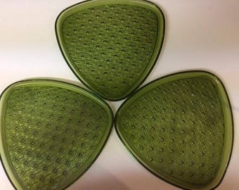 Vintage 50's Indiana Glass Daisy and Button Olive Green Snack Plates Set of 3