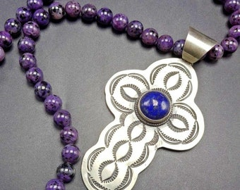 NAVAJO Hand Stamped Sterling Silver & LAPIS Cross NECKLACE Sugilite Beads