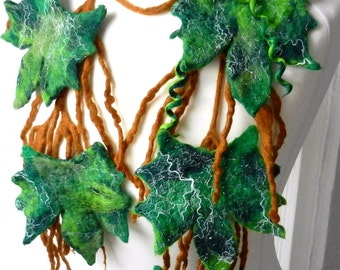 Felted Flower, Hand Felted, Wool Jewelry felted NECKLACE---grape-vine----