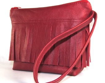 Red Leather, Wristlet, Bag, Pouch, Zipper Purse, Evening Bag