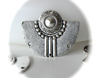 2 connectors BREASTPLATE rounded fan shape in silver