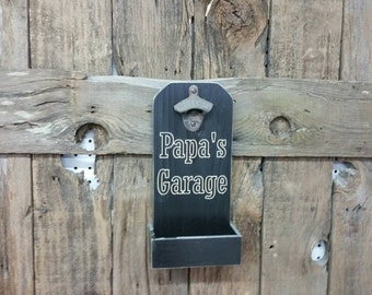 Papa's Garage, groomsmen gift, bottle opener, custom bottle opener, groomsman gift, beer bottle opener, engraved opener