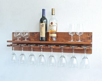 "32"" Rustic Wood Wine Rack Shelf & Stemware Glass Holder Unique Organizer 