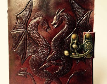 Leather Journal, Twin Dragons Leather Journal, Dragons diary, Blank Leather Bound Notebook