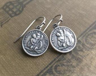 Saint Christopher Medal Earrings, Catholic Earrings, Dangle Earrings, Protect Us