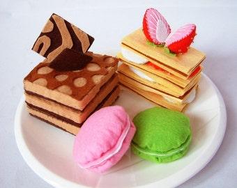 Play Felt food pattern-Lovely sweet cake set(Muti-Layer chocolate pie,strawberry pie,Tiramisu,Macaroons)--PDF Pattern--F28