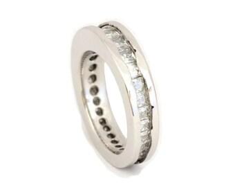 Moissanite Ring, Wavy Platinum Wedding Band, Moissanite Eternity Band
