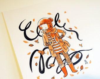 Fall original orange and black ink painting