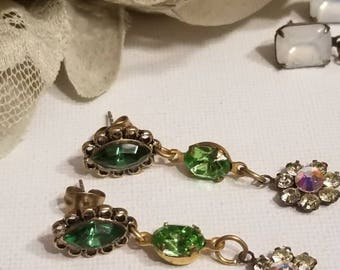 Romantic Crystal Earrings, Dangle Style, Antique Gold and Brass Connector Post Earrings, Green and Blue, Hand Set Stones
