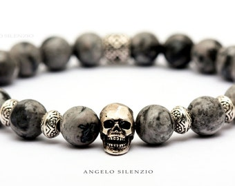 Netstone beaded bracelet 925 silver skull double cone ladies bracelet skull bracelet women skull bracelet Men