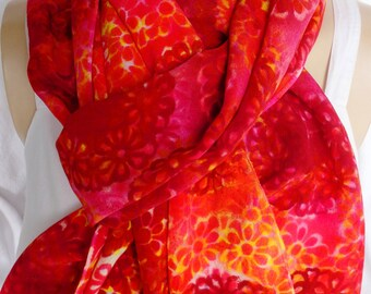 silk scarf large long luxury crepe hand painted Rotating Daisy unique red pink orange wearable art women