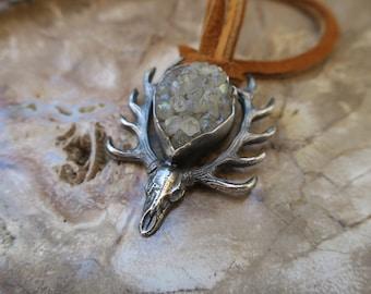 Desert Stars Deer Skull #02. Sterling silver cast necklace with aura crystal cluster. Deer skull gemstone pendant on deer hide.
