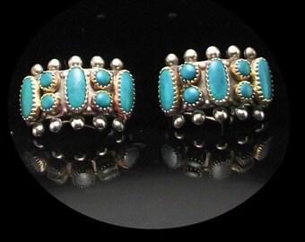 Old Zuni Needlepoint Petit Point Earrings