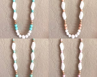 Silicone Teething Necklace, Nursing Necklace, Chew Beads, white mint turquoise