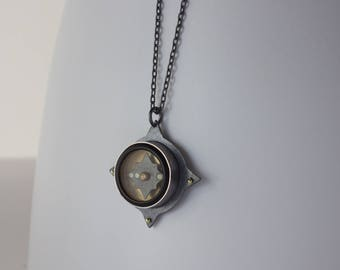 Francis Barker Compass Pendant Necklace - Sterling Silver Bezel Set Functional Brass Survival Compass Jewelry - FB 1605 NATO