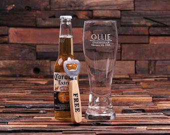Set of 7 - 24 oz. Pilsner Beer Glass with FREE Wood Bottle Opener Personalized and Engraved (024699)