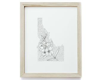 Idaho> Syringa > State Flower Drawing> Giclee Print