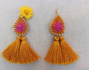 Tassel Flowery Earrings (Yellow)