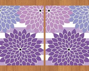 Floral Flower Burst Purples Wide Stripes Wall Art Nursery Bedroom Bathroom Living Room Kitchen Print 8X10 Set of 2 (154C)
