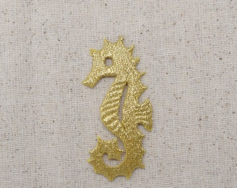 Gold Seahorse - Iron on Applique - Embroidered Patch - AP511879