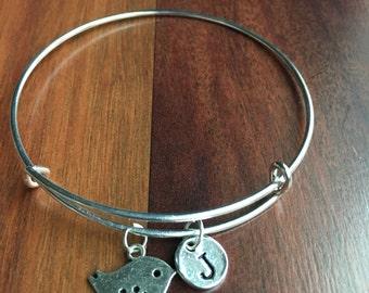 Bird initial bracelet, bird jewelry, silver bird bracelet, aviary bracelet, gift for bird lover, pet bird bracelet