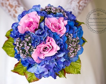Royal Blue Hydrangea and Pink Rose Floral Bouquet with Matching Boutonniere