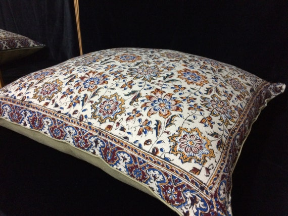 """Decorative pillow cover, floral Cotton and block printed Cushion Cover, 24""""x24"""""""