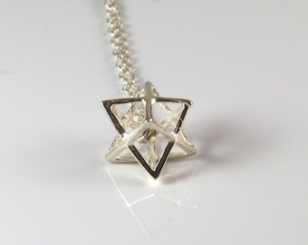 Star of david necklace sterling silver magen david tiny 100 sterling silver merkaba necklace 3d silver star of david necklace 3d magen aloadofball Image collections