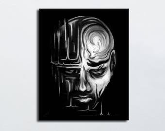 Painting portrait sad face man black and white - stylized dark man face painting - digital art print canvas - limited edition print
