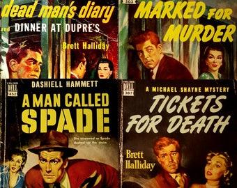 4 vintage pulp paperbacks  - DELL BOOK - mapback - crime mystery novels - Dashiell Hammett - Brett Halliday - #452 - #387 - #427 - #503