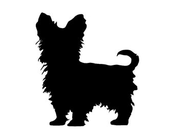 Yorkshire Terrier v4 Dog Breed Silhouette Custom Die Cut Vinyl Decal Sticker - Choose your Color and Size