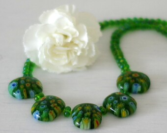 Green Millefiori Necklace, Green Glass Beads Necklace, Summer Spring Necklace