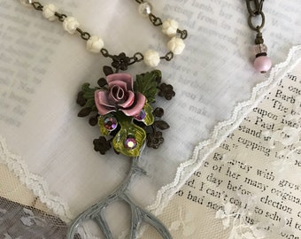 Roses and Antlers, repurposed vintage jewelry necklace, upcycled, pink, boho, OOAK assemblage, deer, hunting, by vintagefrivolity