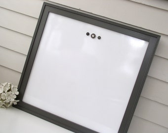 Executive WHITEBOARD Dry Erase - Magnetic Bulletin Board - 23 x 23 inches - Sophisticated Office Memo Board Handmade Wood Frame in Gray