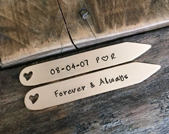 Hand stamped bronze collar stays anniversary wedding gift wedding date gift personalized collar stays 8 year anniversary husband gift