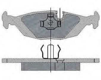 Brake pads front rear disc BAUER 34211153196 5SP238 BMW (E30)/5 (E25)/6 (E24)/7 (E23)