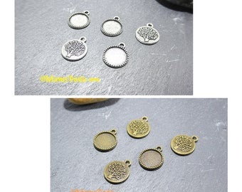 Set of 5 pendants Supports pattern tree Ø 14mm round cabochons