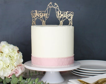 Personalized Modern Rustic Geometric Llama Alpaca Wedding Cake Topper | Custom Name