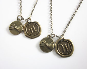 2 pinky promise necklaces with Wax Seal Initial ,Pinky Swear Necklace,couples necklace,His And Hers necklace,Girlfriend Boyfriend Necklaces