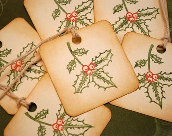 Holly Leaves and Berries Vintage Style Holiday Gift Tags Set of 6
