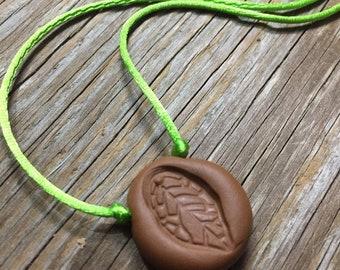 Little Leaf - Unique Handmade Brown Leaf Imprint Polymer Clay Pendant Necklace