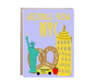 New York City,  NYC, Soft Pretzels, Card, I Love New York, Card, NYC Card, City Card, Big Apple Card