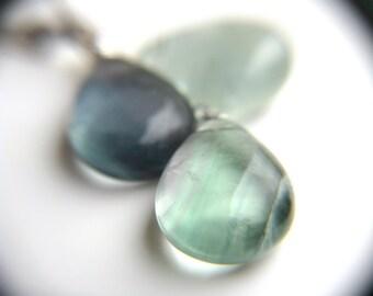 Green Blue Fluorite Earrings . Blue Green Gemstone Earrings . Mermaid Tears Earrings . Gemstone Lever Back Earrings - Chakra Collection