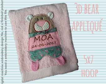 3D bear appliqué - 5x7 hoop - ITH - In The Hoop - Machine Embroidery Design File, digital download