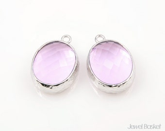 Lavender Glass and Silver Framed Oval Pendent - 2pcs Lavender Glass Pendant, Earrings Pendant / 12 x 16mm / SLAS009-P