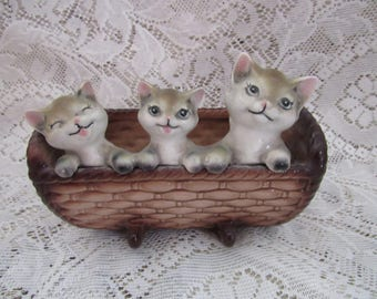 Vintage  Three Kittens in a Basket Planter, Made in Japan